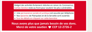 Bannière indiquant la diminution des activités de Caritas pendant la crise du COVID-19, suivie d'un appel aux dons.