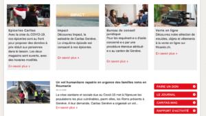 Première actualité visible sur le site de Caritas Genève le 9 avril 2020 à midi: un vol humanitaire vers la Roumanie pour les Roms de Genève.